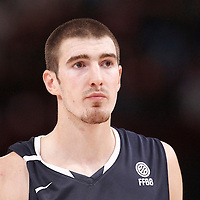 15 July 2012: Nando De Colo of Team France rests during a pre-Olympic exhibition game won 75-70 by Spain over France, at the Palais Omnisports de Paris Bercy, in Paris, France.