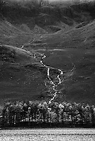A stream running down scree slopes at Buttermere, Cumbria
