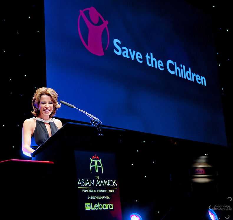 Save the childre Ambassador Natasha Kaplinsky talks about Save the Childrens work before the fundraising auction during The Asian Awards 2011 held at the Grosvenor House Hotel, London...The Asian Awards, which have been set up to celebrate the highest achievement from across the international Asian community. Awards are open to individuals born in or with direct family origin from India, Pakistan, Sri Lanka or Bangladesh.  ..The Asian Awards recognise and reward exemplary achievement across 11 categories that include business, philanthropy, entertainment, culture and sport. Nominees were selected by an independent judging panel consisting of key business people, cultural leaders and eminent political figures, chaired by Baroness Verma of Leicester.