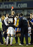 Photo: Chris Ratcliffe.<br /> Millwall v Hull FC. Coca Cola Championship. 14/02/2006.<br /> Referee Lee Probert sends off Paul Robinson of Millwall