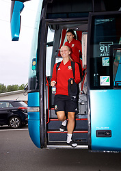 NEWPORT, WALES - Tuesday, August 28, 2018: Wales' Elise Hughes arrives before a training session at Dragon Park ahead of the final FIFA Women's World Cup 2019 Qualifying Round Group 1 match against England. (Pic by David Rawcliffe/Propaganda)