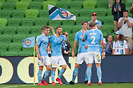MELBOURNE, VIC - JANUARY 22: Melbourne City midfielder Luke Brattan (26) celebrates as he scores a goal at the Hyundai A-League Round 15 soccer match between Melbourne City FC and Western Sydney Wanderers at AAMI Park in VIC, Australia 22 January 2019. Image by (Speed Media/Icon Sportswire)