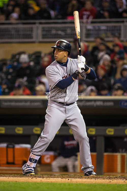 MINNEAPOLIS, MN- APRIL 27: Michael Brantley #23 of the Cleveland Indians bats against the Minnesota Twins on April 27, 2016 at Target Field in Minneapolis, Minnesota. The Indians defeated the Twins 6-5. (Photo by Brace Hemmelgarn) *** Local Caption *** Michael Brantley