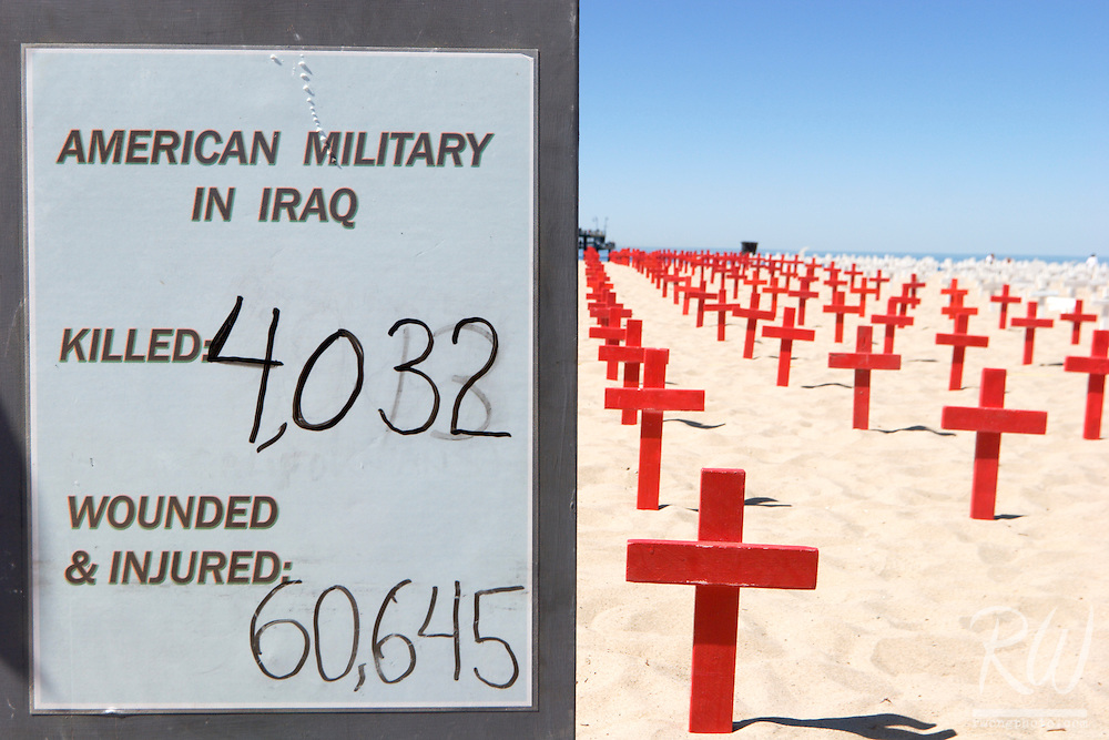 Tally of American Military Killed and Wounded in Iraq War at Arlington West Memorial, Santa Monica, California