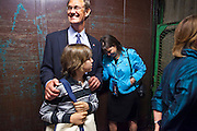 02 NOVEMBER 2010 - PHOENIX, AZ: Terry Goddard, his wife, Monica Goddard and their son, Kevin Goddard, take the freight elevator out of the hotel after conceding on election night at the Wyndham Hotel in Phoenix Tuesday. Goddard lost the election to sitting Governor Jan Brewer, a conservative Republican.     PHOTO BY JACK KURTZ