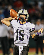 Cedar Ridge quarterback Travis Malesky looks for a receiver in the first half against Stony Point.  (LOURDES M SHOAF for Round Rock Leader)