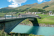 Maillard Bridge over the Inn River was constructed in 1901 by Robert Maillard (1972-1940) in Zuoz on the Inn river, Maloja Region, Graubünden, Switzerland