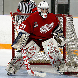 STOUFFVILLE, ON - Feb 2 : Ontario Junior Hockey League Game Action between the Stouffville Spirit Hockey Club and the Hamilton Red Wings Hockey Club.  Mark Sinclair #31 of the Hamilton Red Wings Hockey Club during second period game action.<br /> (Photo by Michael DiCarlo / OJHL Images)