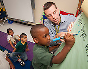 Joel Bruff teaches his Kindergarten class at Foerester Elementary School, May 2, 2013.