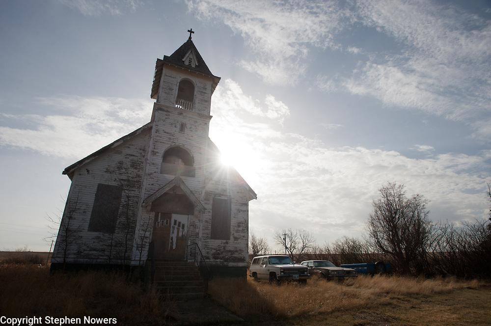 An abandoned church in Fortuna, North Dakota.