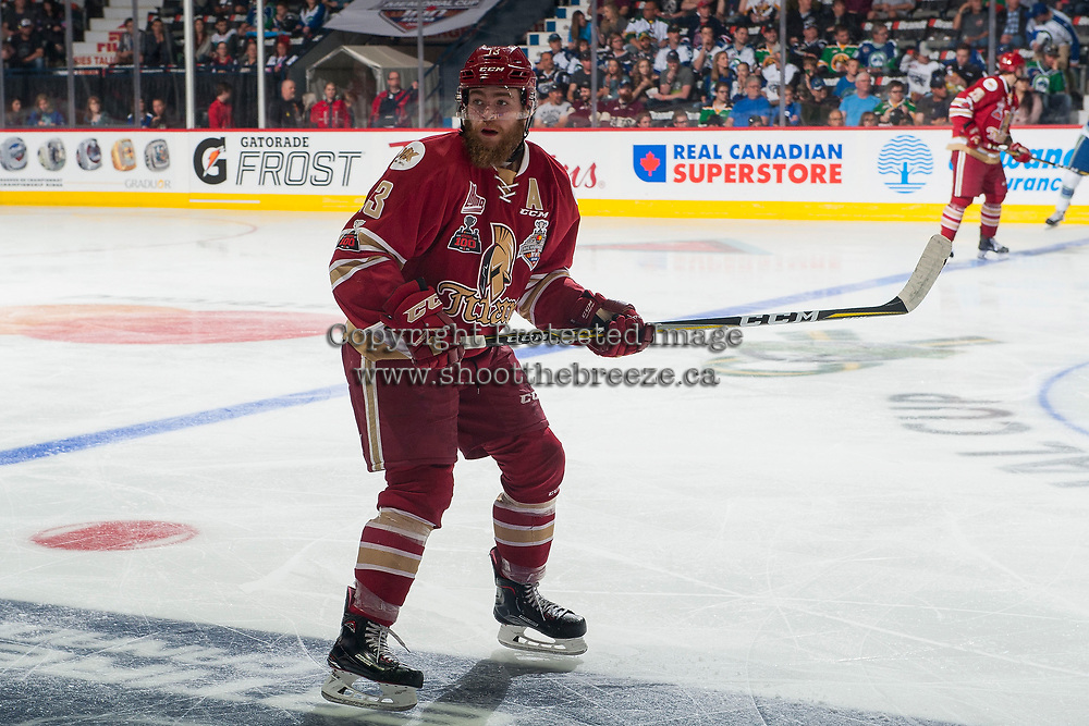 REGINA, SK - MAY 19: Adam Holwell #13 of Acadie-Bathurst Titan skates against the Swift Current Broncos at the Brandt Centre on May 19, 2018 in Regina, Canada. (Photo by Marissa Baecker/CHL Images)