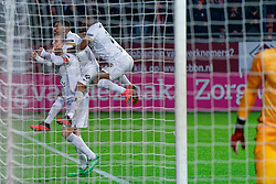 Simon Gustafson #10 of FC Utrecht scores from a penalty and celebrate during the semi final KNVB Cup between FC Utrecht and Ajax Amsterdam at Stadion Nieuw Galgenwaard on March 04, 2020 in Amsterdam, Netherlands