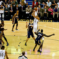 Oct 30, 2013; New Orleans, LA, USA; New Orleans Pelicans power forward Anthony Davis (23) shoots over Indiana Pacers power forward Luis Scola (4) during the second half of a game at New Orleans Arena. The Pacers defeated the Pelicans 95-90. Mandatory Credit: Derick E. Hingle-USA TODAY Sports