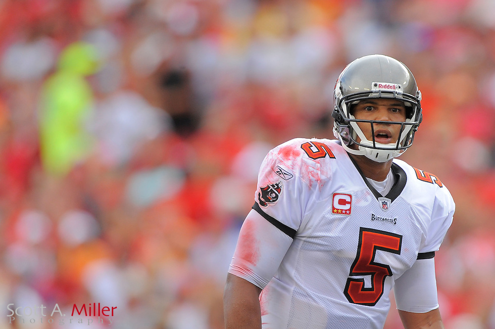 Tampa Bay Buccaneers quarterback Josh Freeman (5) during the Bucs game against the Atlanta Falcons at Raymond James Stadium on Sept. 25, 2011 in Tampa, FL...©2011 Scott A. Miller