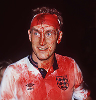 Fotball<br /> Foto: Colorsport/Digitalsport<br /> NORWAY ONLY<br /> <br /> Terry Butcher (Eng) at the end of the match covered in blood with his cut head. Sweden v England. 6/9/89. World Cup Qualifier Group 2. 1989