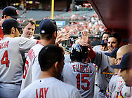 May. 7, 2012; Phoenix, AZ, USA; St. Louis Cardinals infielder Rafael Furcal (15) is congratulated by teammates after hitting a home run against the Arizona Diamondbacks during the first inning at Chase Field. Mandatory Credit: Jennifer Stewart-US PRESSWIRE