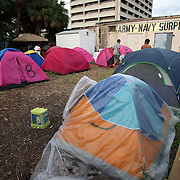 """Tents are seen at """"Camp Romney"""", or Romneyville, during the Republican National Convention in Tampa, Fla. on Wednesday, August 29, 2012. (AP Photo/Alex Menendez)"""