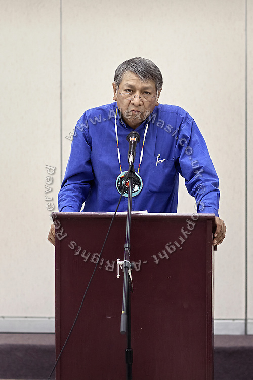 Rupert Steele, former chairman of the Goshute Tribe, is speaking with anger at a public meeting with Utah's governor Gary R. Herbert at West Desert School, in Trout Creek, Snake Valley, Utah, USA. The talks have focused on the pipeline's possible impact. It will reach far into the valleys on the border with Utah, therefore the governor is addressing concerns on how to best protect the State's environment and natural resources, such as water.