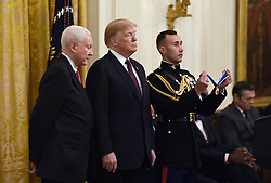 US President Donald Trump awards the Presidential Medal of Freedom to retiring Utah US Senator Orrin Hatch at the White House in Washington, DC, on November 16, 2018. - The Medal is the highest civilian award of the United States. Photo by Olivier Douliery/ABACAPRESS.COM