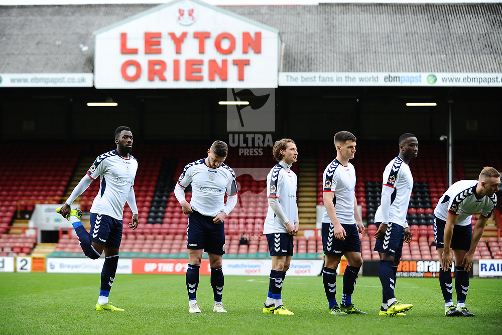 TELFORD COPYRIGHT MIKE SHERIDAN 16/3/2019 - Telford players line up during the FA Trophy semi final first leg fixture between Leyton Orient and AFC Telford United at Brisbane Road.