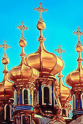 Five Golden Domes of the Catherine Palace at Pushkin near St. Petersburg, Russia