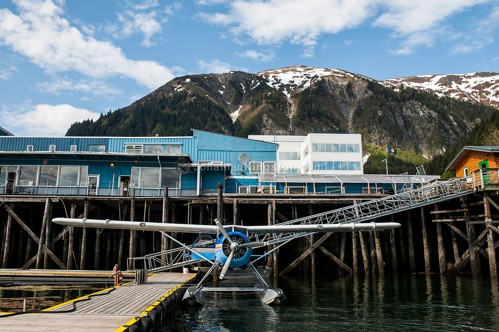 Low angle view of a float plane in the harbor at Juneau, Alaska.