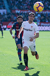 January 26, 2019 - Sevilla, Andalucia, Spain - Ben Yedder of Sevilla FC and Morales of Levante UD competes for the ball during the La Liga match between Sevilla FC v Levante UD at the Ramon Sanchez Pizjuan Stadium on January 26, 2019 in Sevilla, Spain  (Credit Image: © Javier MontañO/Pacific Press via ZUMA Wire)
