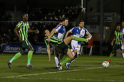 Paul Robinson of AFC Wimbledon gets a shot away during the Sky Bet League 2 match between Bristol Rovers and AFC Wimbledon at the Memorial Stadium, Bristol, England on 8 March 2016. Photo by Stuart Butcher.