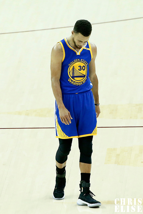 07 June 2017: Golden State Warriors guard Stephen Curry (30) is seen during the Golden State Warriors 118-113 victory over the Cleveland Cavaliers, in game 3 of the 2017 NBA Finals, at  the Quicken Loans Arena, Cleveland, Ohio, USA.