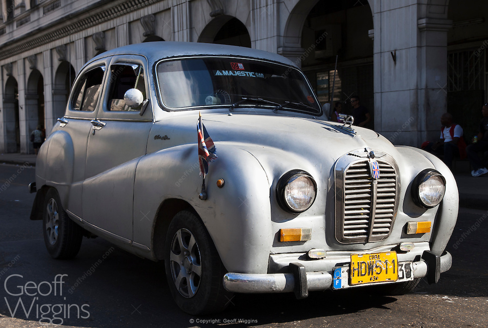 1953 vintage Austin A40 Somerset in Havana, one of many British cars still surviving in Cuba's streets