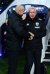 "West Bromwich Albion manager Alan Pardew (right) during the Premier League match at The Hawthorns, West Bromwich. PRESS ASSOCIATION Photo Picture date: Saturday December 2, 2017. See PA story SOCCER WBA. Photo credit should read: Anthony Devlin/PA Wire. RESTRICTIONS: EDITORIAL USE ONLY No use with unauthorised audio, video, data, fixture lists, club/league logos or ""live"" services. Online in-match use limited to 75 images, no video emulation. No use in betting, games or single club/league/player publications."