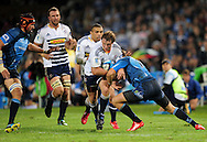 19/03/2011  SupeRugby. Bulls vs Stormers.Deon Fourie is tackled by Gerhard van den Heever  .Pic: Stringer