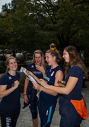05-10-2018 JPN: World Championship Volleyball Women day 7, Nagoya<br /> Travel day from Yokohama to Nagoya with the bullet train. Kirsten Knip #1 of Netherlands, Nicole Oude Luttikhuis #17 of Netherlands, Tessa Polder #20 of Netherlands, Juliet Lohuis #7 of Netherlands