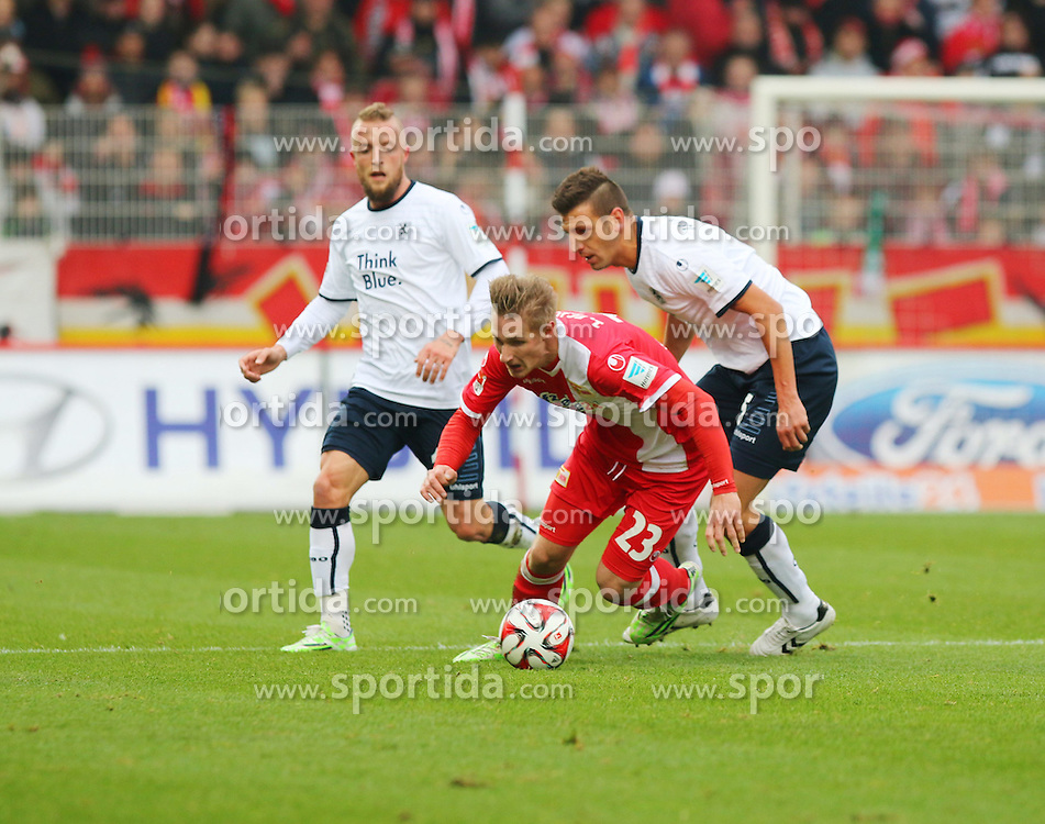 22.11.2014, Alte F&ouml;rsterei, Berlin, GER, 2. FBL, 1. FC Union Berlin vs TSV 1860 Muenchen, 14. Runde, im Bild Zweikampf zwischen Sebastian Polter (1. FC Union Berlin) und Guillermo Vallori (TSV 1860 Muenchen) // SPO during the 2nd German Bundesliga 14th round match between 1. FC Union Berlin and TSV 1860 Muenchen at the Alte F&ouml;rsterei in Berlin, Germany on 2014/11/22. EXPA Pictures &copy; 2014, PhotoCredit: EXPA/ Eibner-Pressefoto/ Hundt<br /> <br /> *****ATTENTION - OUT of GER*****