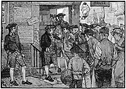 Rebellion in America: Boston mob attempting to force government Stamp Officer to resign, c1773. Wood engraving.