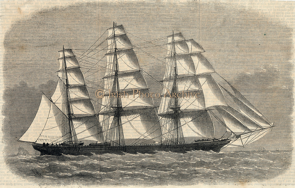Clipper ship 'Caliph', built at Aberdeen, Scotland, for the China tea trade, under full sail on her way to Shanghai. 1869.