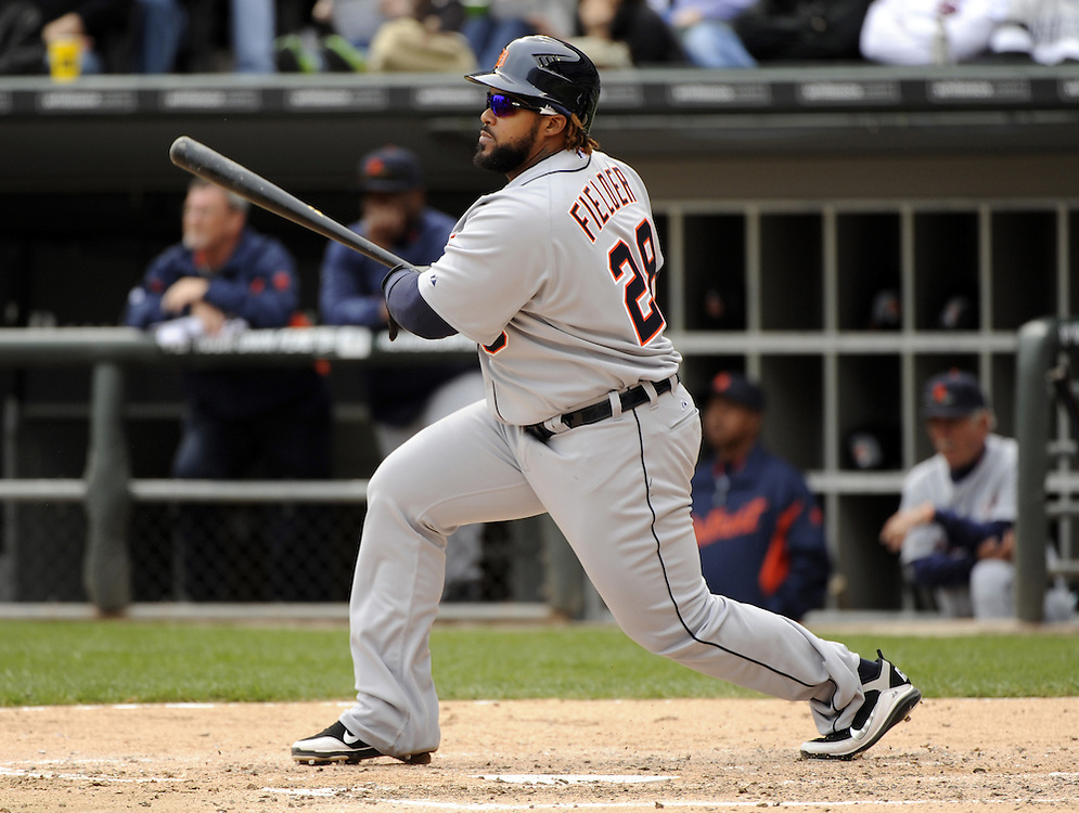 CHICAGO - APRIL 13:  Prince Fielder #28 of the Detroit Tigers bats against the Chicago White Sox on April 13, 2012 bats U.S. Cellular Field in Chicago, Illinois.  The White Sox defeated the Tigers 5-2.  (Photo by Ron Vesely)   Subject:  Prince Fielder