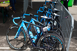 Movistar team bikes are ready for Stage 2 of the Festival Elsy Jacobs - a 111.1 km road race, starting and finishing in Garnich on April 29, 2018, in Luxembourg. (Photo by Balint Hamvas/Velofocus.com)