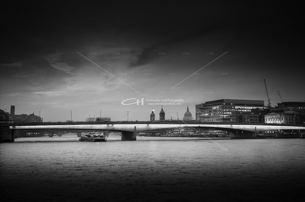 London Bridge at night in black and white