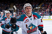 KELOWNA, CANADA - JANUARY 3: Carsen Twarynski #18 of the Kelowna Rockets celebrates a first period goal against the Tri-City Americans on January 3, 2017 at Prospera Place in Kelowna, British Columbia, Canada.  (Photo by Marissa Baecker/Shoot the Breeze)  *** Local Caption ***