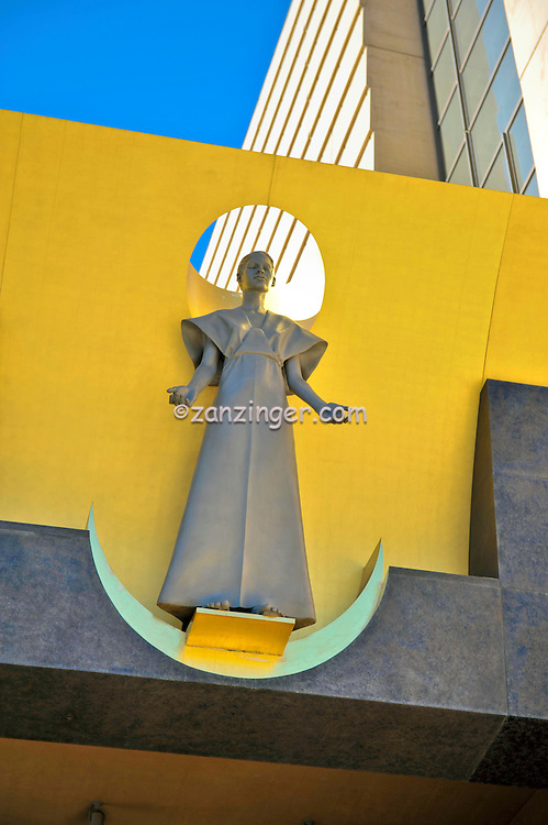 """Robert Graham's, postmodern """"The Virgin Mary"""" Cathedral Entrance, Cathedral of Our Lady of the Angels, church, Los Angeles, CA, Downtown, City, church, Spanish architect, Rafael Moneo, acute and obtuse angles"""
