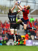 Rugby Union - 2016 / 2017 European Rugby Champions Cup - Semi-Final: Munster vs. Saracens<br /> <br /> Munster's Keith Earls and Chris Ashton of Saracens at the Aviva Stadium, Dublin.<br /> <br /> COLORSPORT/KEN SUTTON
