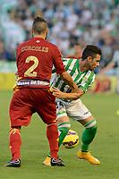 Corcoles (L) and Ruben Castro (R) during the match between Real Betis and Recreativo de Huelva day 10 of the spanish Adelante League 2014-2015 014-2015 played at the Benito Villamarin stadium of Seville. (PHOTO: CARLOS BOUZA / BOUZA PRESS / ALTER PHOTOS)