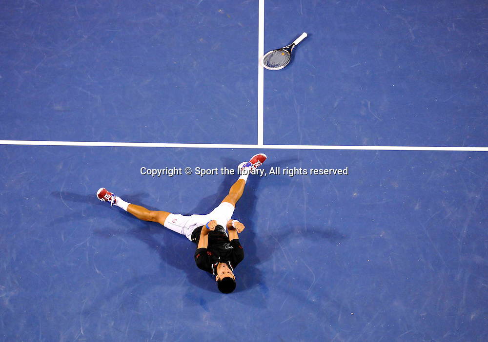 Novak Djokovic(SRB) defeats Rafael Nadal (ESP) in the men's final of the 2012 Australian Open.<br /> Men's Singles Finals <br /> 2012 Australian Open Tennis<br /> Melbourne, Victoria<br /> Saturday January 29th 2012<br /> &copy; Sport the library / Jeff Crow