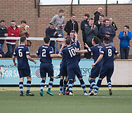 Forfar's David Cox is mobbed by team-mates after heading home his side's second goal during Forfar's 3-0 win over Clyde in SPFL League Two  at Station Park, Forfar, Photo: David Young<br /> <br />  - &copy; David Young - www.davidyoungphoto.co.uk - email: davidyoungphoto@gmail.com