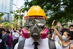 Hong Kong. 4 October 2019. Large peaceful march by thousands of pro-democracy supporters through Central business district of Hong Kong this afternoon. March was in protest against Chief Executive Carrie Lam's use of Emergency Powers to ban the wearing of masks during protests. Iain Masterton/Alamy Live News.