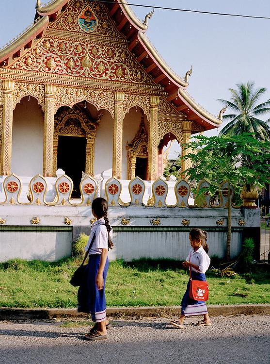 Schoolgirls walking home.