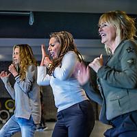 Nederland, Bussum, 3 mei 2016.<br /> 3 van de 5 zangeressen uit de voormalige meiden band de Dolly Dots.<br /> Op de foto: Dolly Dots ESTHER OOSTERBEEK, Ang&eacute;la KRAMERS en ANITA HEILKER repeteren in Squash &amp; Wellness Centrum aan de Struikkeiweg 16 in Bussumvoor hun gastoptreden met de Toppers op 13 en 14 mei.<br /> <br /> Dolly Dots were a popular Dutch girl band in the 1980s. With their style of upbeat dance/pop, they scored many hits throughout Europe<br /> <br /> Foto: Jean-Pierre Jans