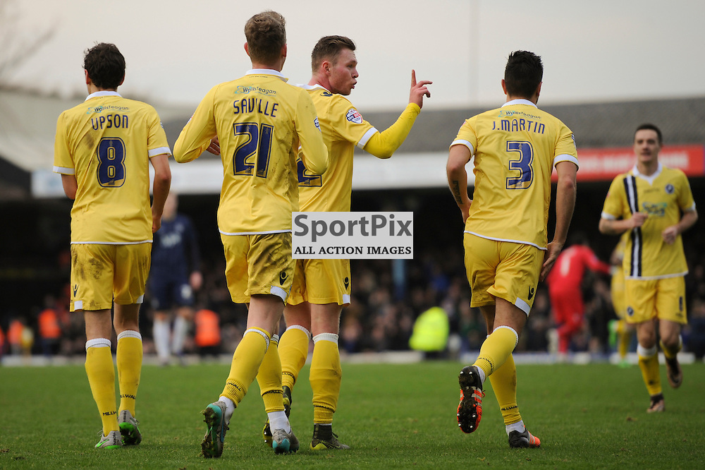 Millwalls Aiden O'Brien celebrates scoring his sides fourth goal during the Southend v Millwall game in the Sky Bet League 1 on the 28th December 2015.