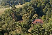 Blick ins Tal von Schloss Lichtenberg, Niedernhausen, Odenwald, Naturpark Bergstraße-Odenwald, Hessen, Deutschland | view from castle Lichtenberg, Niedernhausen, Odenwald, Hesse, Germany